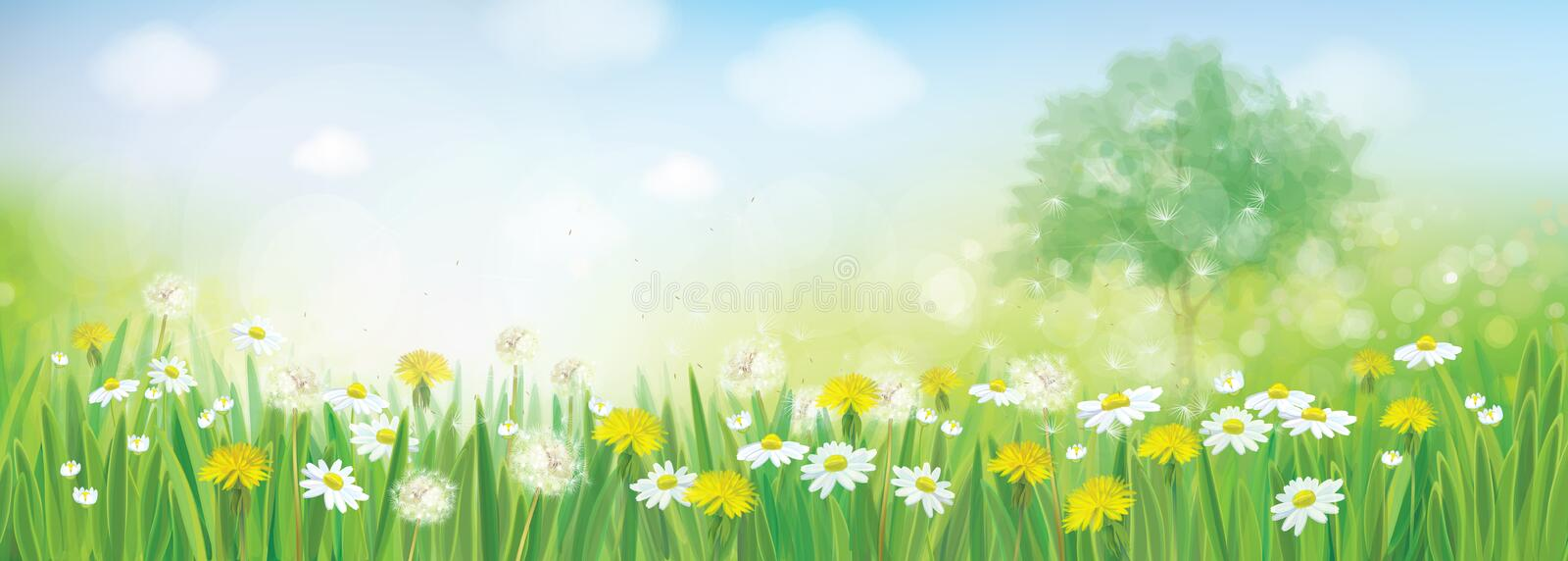 Vector spring landscape. stock illustration
