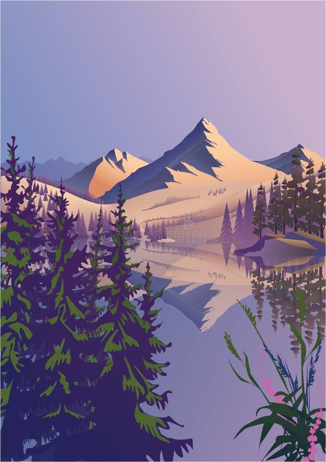Mountain spring landscape stock illustration
