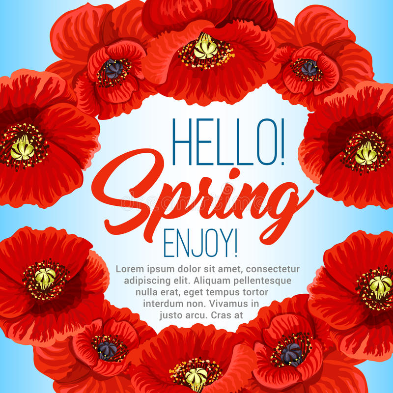 Vector spring poster of poppy flowers wreath stock vector hello spring poster design of poppy flowers wreath or floral frame vector greeting quotes design for springtime holidays with blooming flower bouquets and mightylinksfo