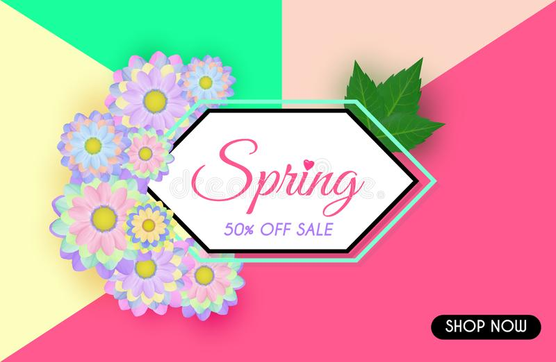Vector Spring sale background and beautiful flowers vector illustration