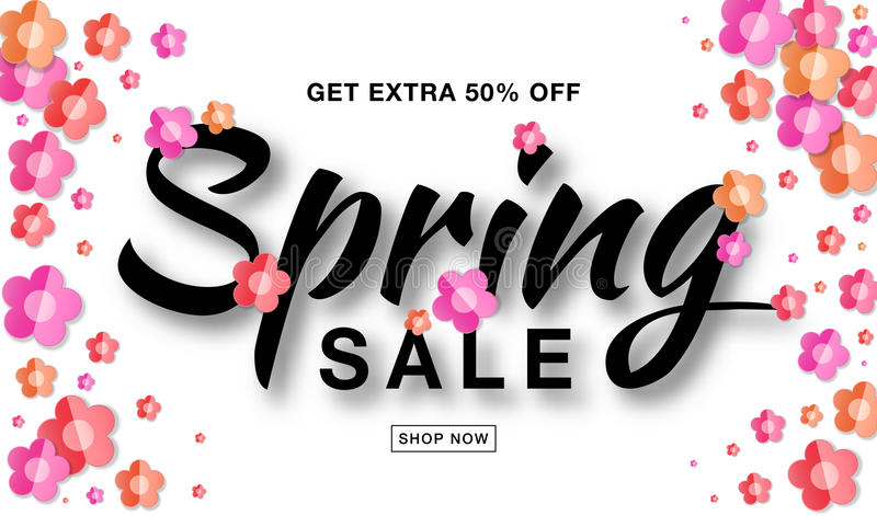 Vector Spring Sale banner with typographic calligraphic lettering text on white background with colorful paper flowers. royalty free illustration