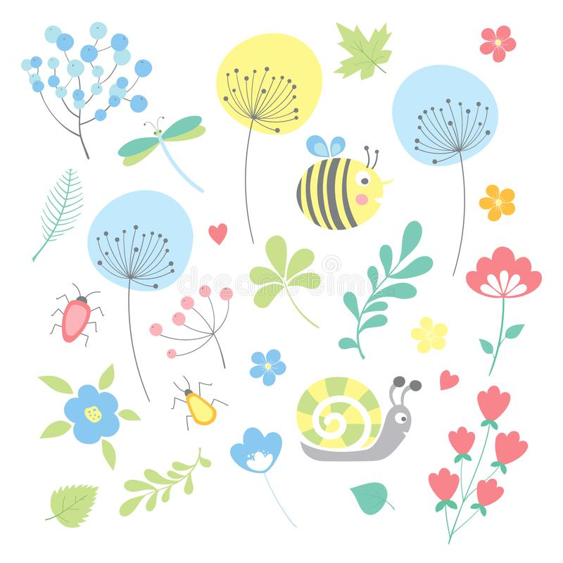 vector spring set stock images