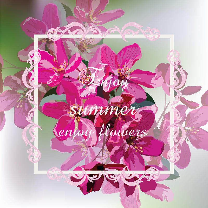 Vector Spring Summer card with pink flowers stock illustration