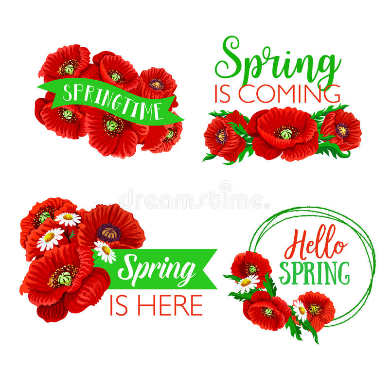 Vector Spring Time Greeting Quotes Flowers Design Stock Vector ...