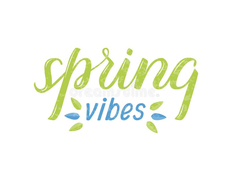 Vector textured lettering `Spring vibes` stock image