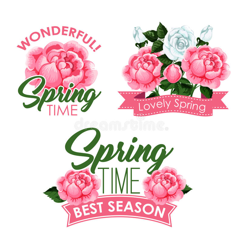 Vector Springtime Roses Bunches Of Greeting Quotes Stock Vector ...