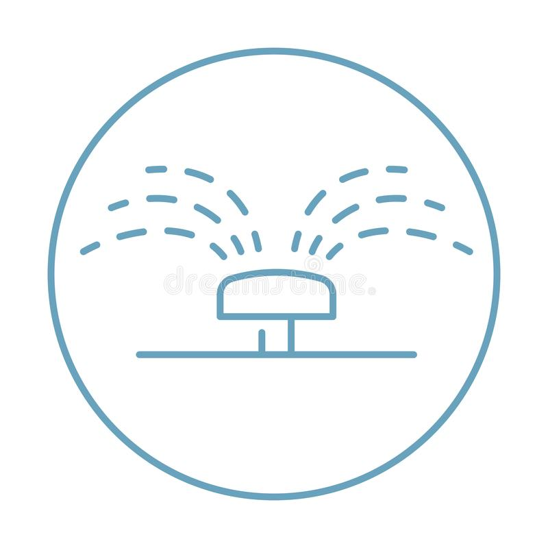 Vector sprinkler thin icon with drops up for the grass and lawn. stock illustration