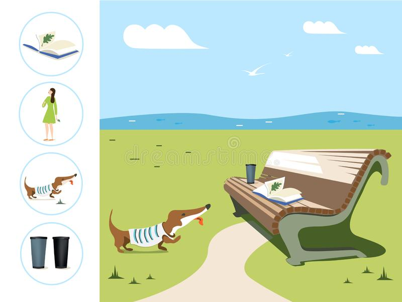 Vector square banner about summer relax. Illustration of a girl walking with a dog, a bench with a book and a glass in park,  lake stock illustration