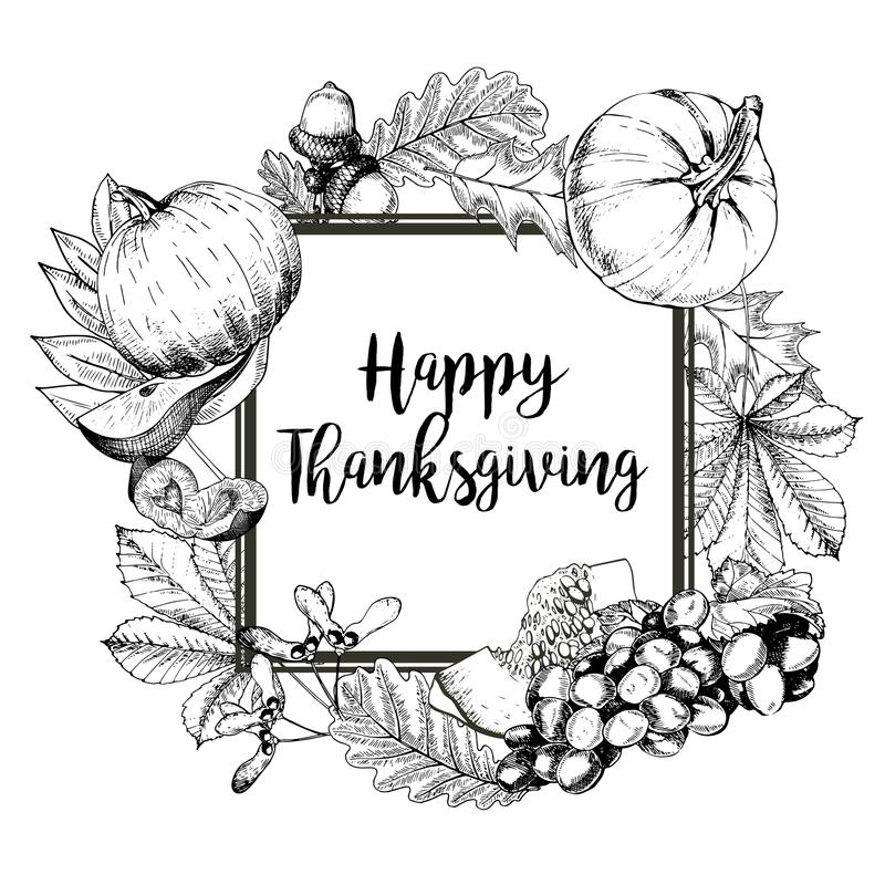 Download Vector Square Border Greeting Card For Thanksgiving Hand Drawn Vintage Engraved Illustration Stock