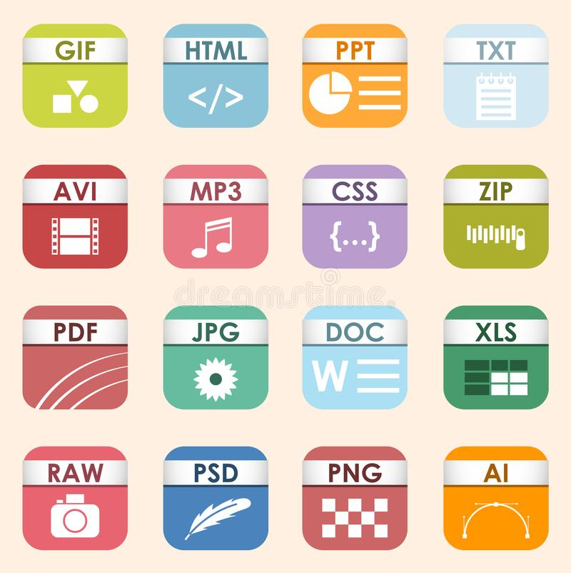 Vector Square File Types And Formats Labels Icon Set File Type