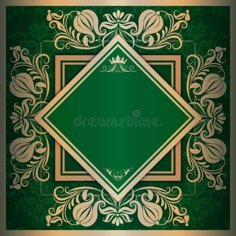 Vector square frame with filigree ornament. On green background for design vector illustration