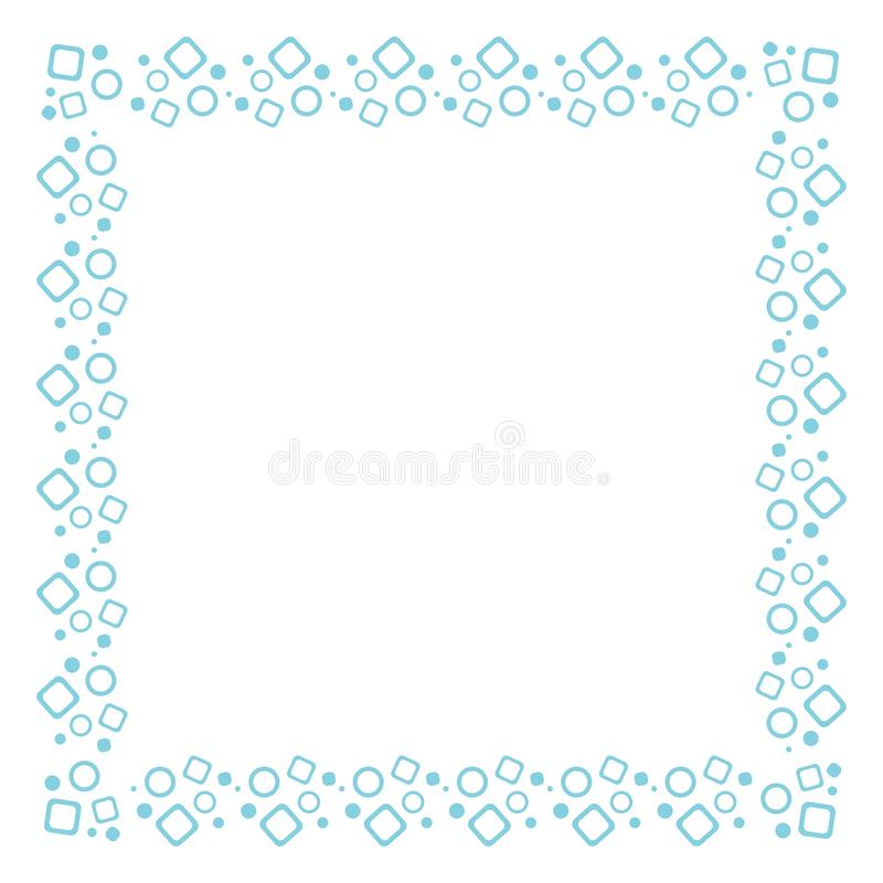 Vector blue square frame with geometric pattern of circles and squares. Design of postcards, booklets, invitations stock illustration