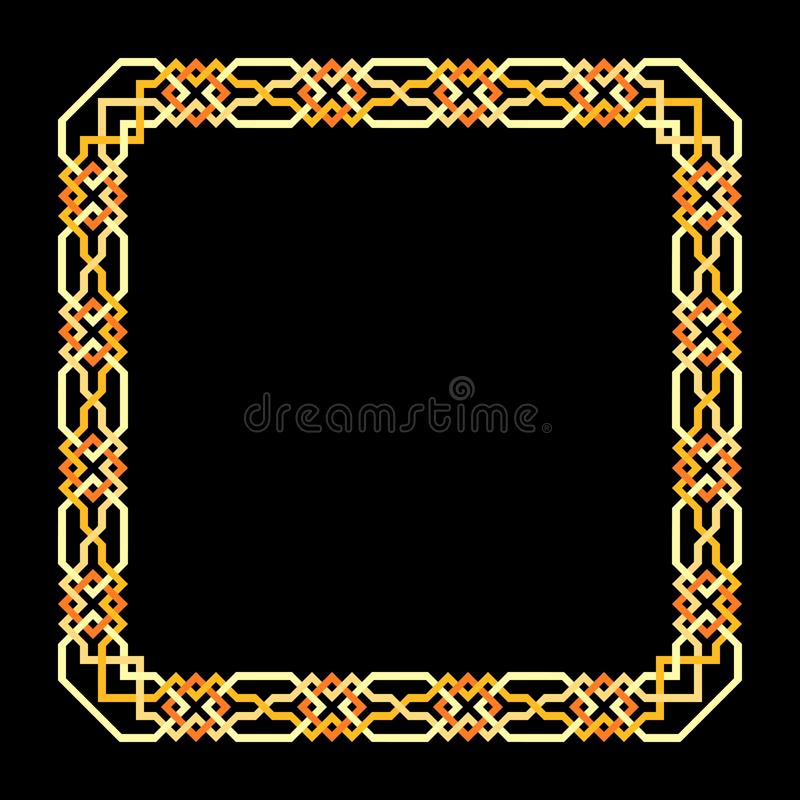 Vector square frame with seamless islamic pattern. ancient repeated motif. a decorative border constructed from continuous lines. Simple black geometric vector illustration