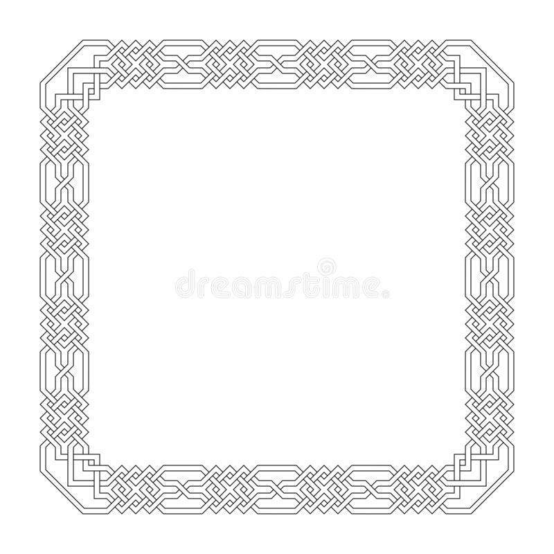 Vector square frame with seamless islamic pattern. ancient repeated motif. a decorative border constructed from continuous lines. Vector square frame with vector illustration