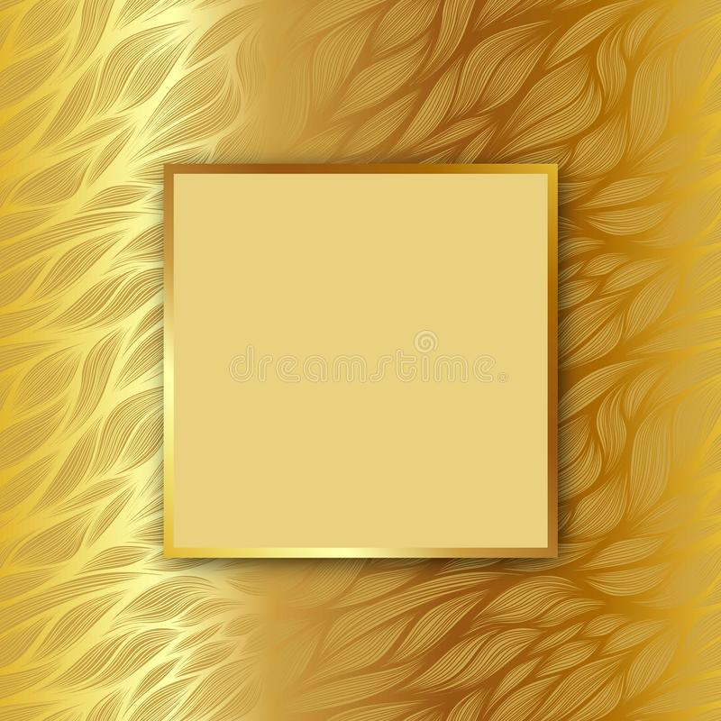 Vector square frame with shadow on leaf pattern on gold background royalty free illustration