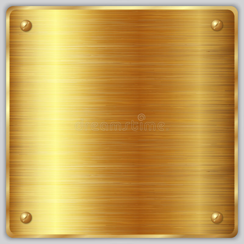 Vector square gold metallic plate with screws. Vector square brushed metal gold plate with screws vector illustration