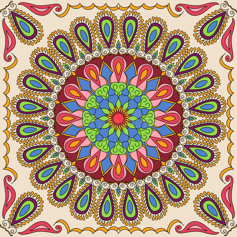 Vector square mandala pattern as example for coloring book for adults. Page for relax and meditation. Mexican tile for ceramic stock illustration