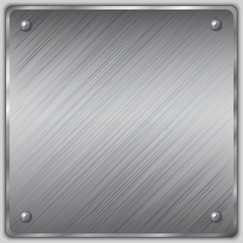 Vector square steel plate with screws. Vector square brushed metal steel plate with screws stock illustration