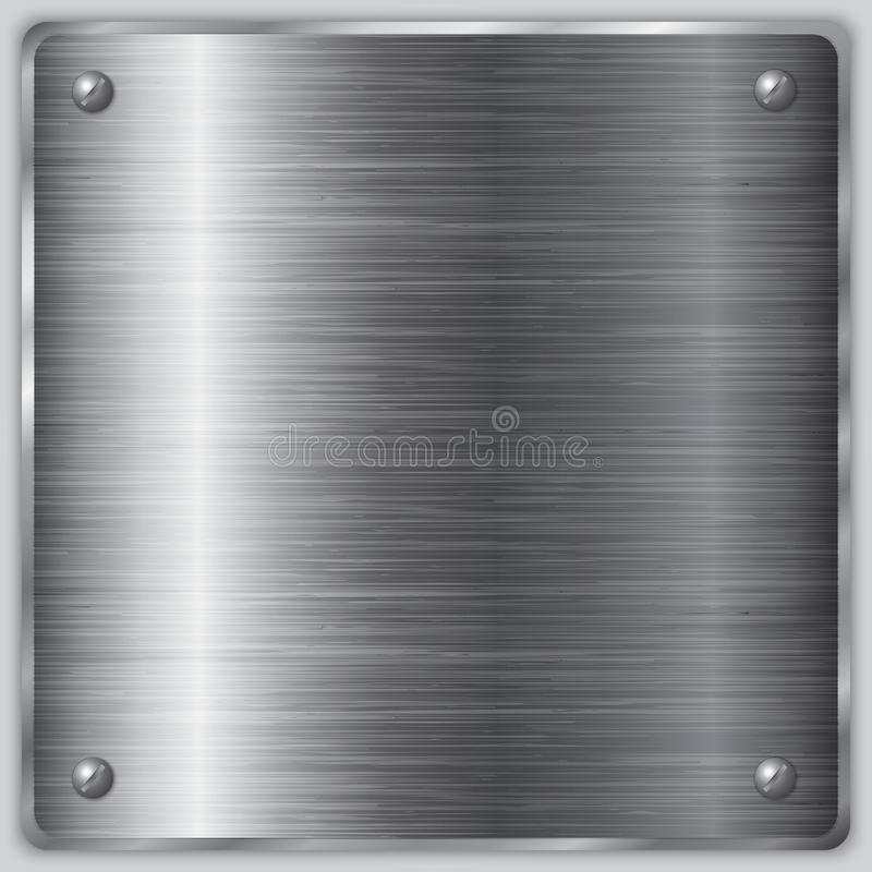 Vector square steel plate with screws. Vector square brushed metal steel plate with screws vector illustration