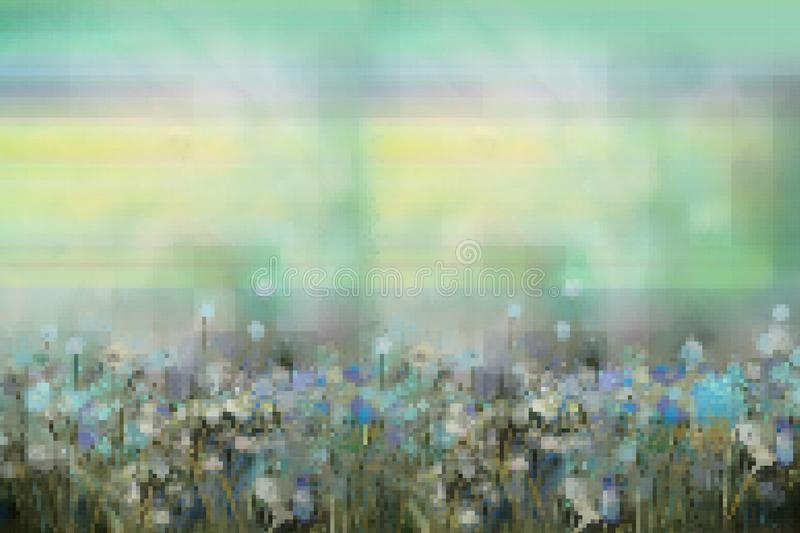 Vector squares or pixel shape design. Illustration image of abstract flower painting in meadow. Floral, nature design, vector illustration