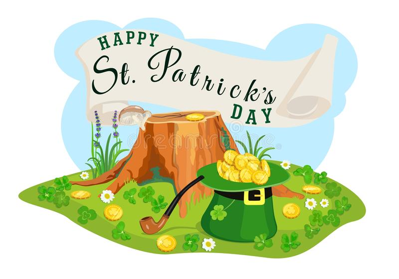 St. Patrick Day poster. Search for gold coins. Vector illustration. royalty free illustration