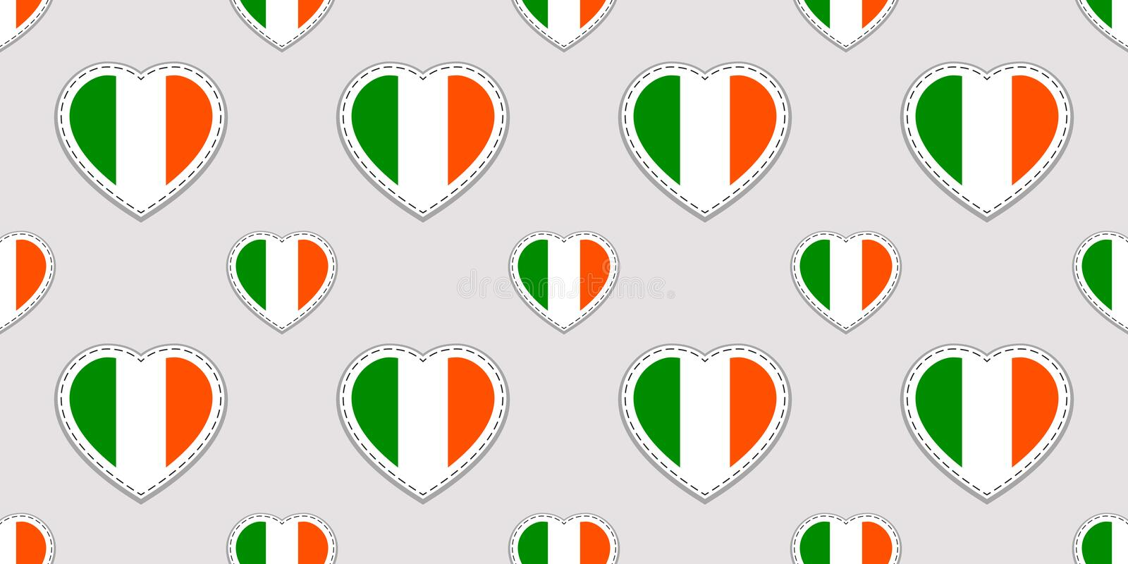 Vector St. Patrick`s day seamless pattern. Background with Ireland national flags stickers. Traditional colors. Irish cultural an stock illustration