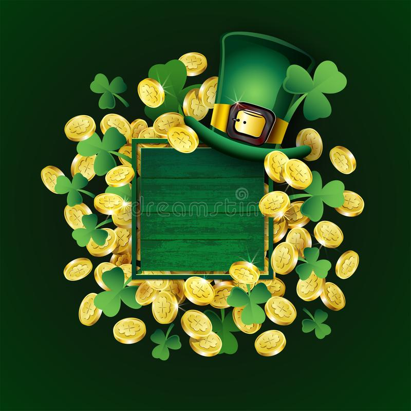 Vector St Patricks Day poster. Irish design elements: Leprechaun hat, clover, gold coins, empty text place on wood frame stock illustration