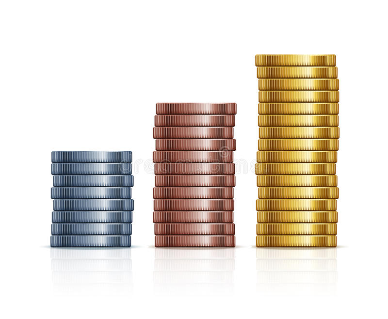 Vector stacks of coins. Gold, silver and copper royalty free illustration