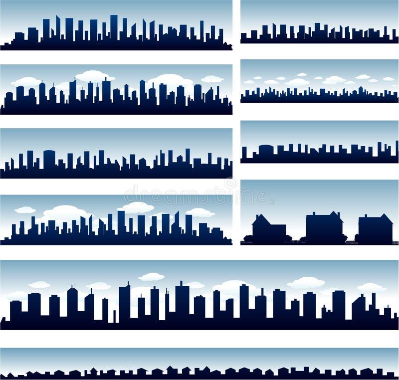 Vector stadshorizonnen vector illustratie
