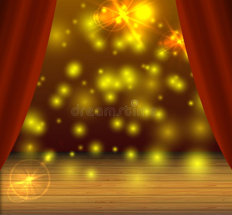 Vector Stage Background, Magical Light Spots, Shine Effect, Theater Curtains. vector illustration