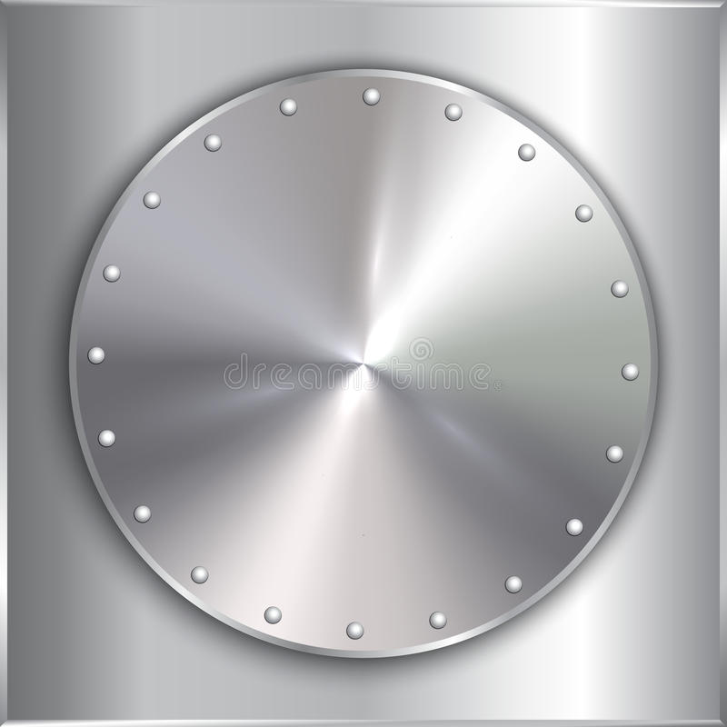 Vector Stahlmetallrunde goldene Platte mit Nieten lizenzfreie abbildung