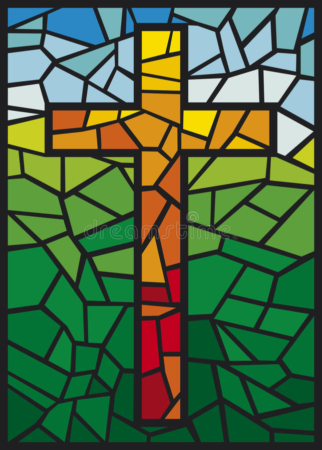 Vector stained glass cross vector illustration