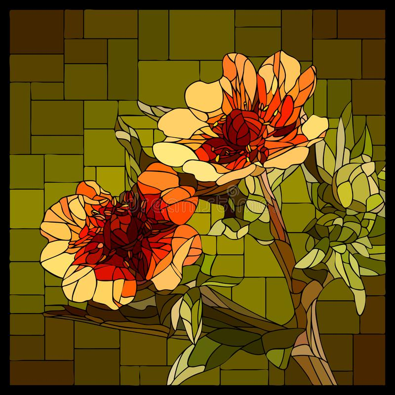 Vector stained glass window with blooming red Cinquefoil. Vector angular mosaic with blooming red Cinquefoil in stained-glass window royalty free illustration
