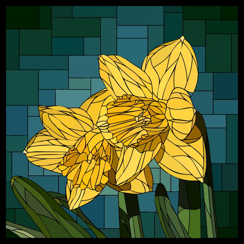 Vector stained glass window with blooming two narcissus flowers. Vector angular mosaic with blooming two yellow narcissus flowers stained-glass window frame royalty free illustration