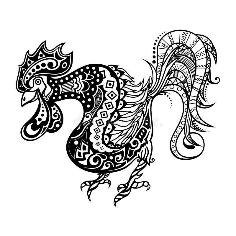Vector Stammen Decoratieve Haan royalty-vrije illustratie