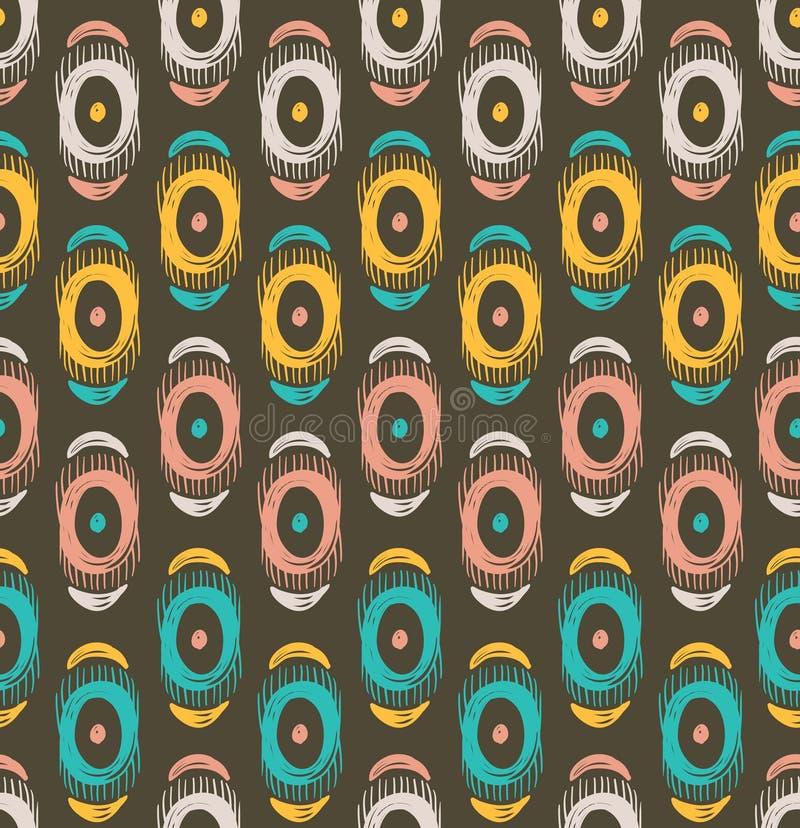 Vector stammen naadloos patroon met abstracte veren en cirkels royalty-vrije illustratie