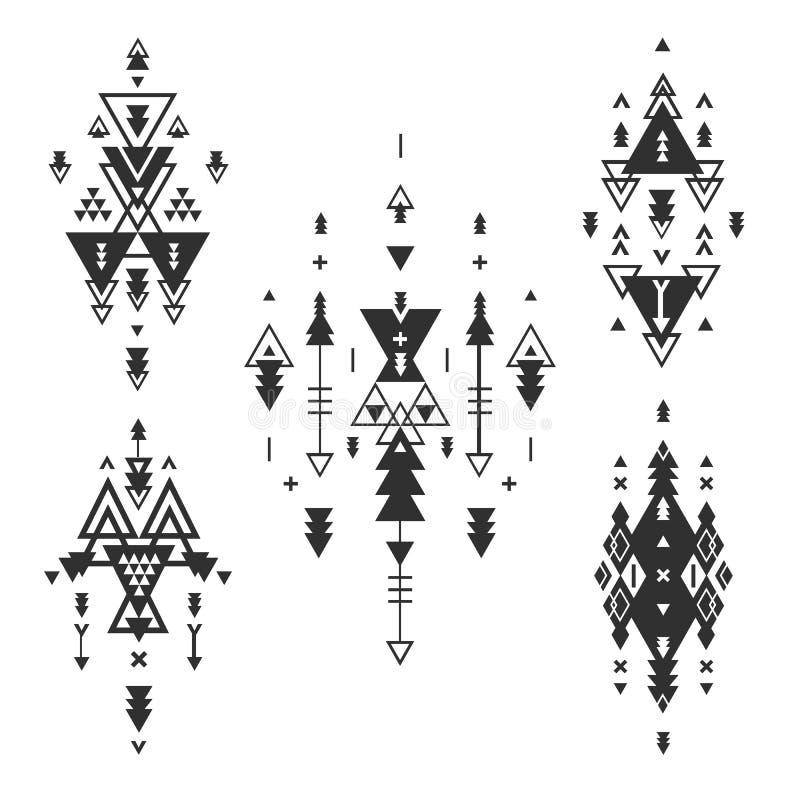 Vector Stammenelementen, etnische inzameling stock illustratie