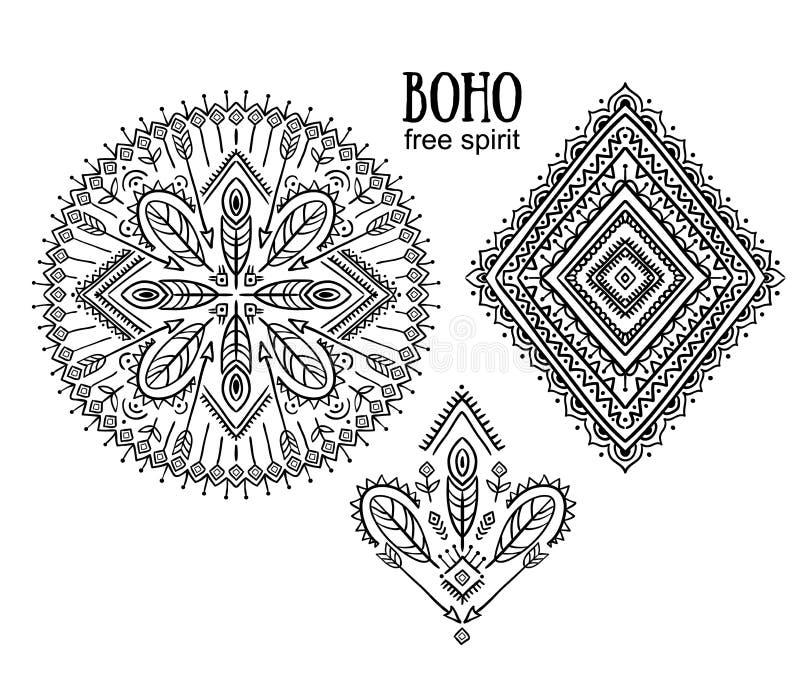 Vector Stammenelementen, etnische inzameling, Azteekse modieuze ornamenten, stammendieontwerp op witte achtergrond wordt geïsolee royalty-vrije illustratie