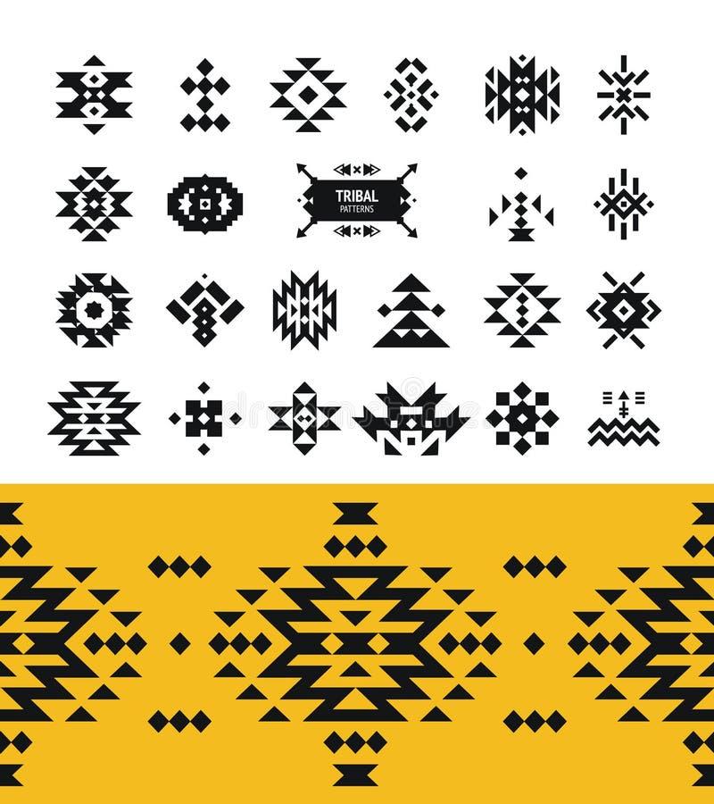 Vector Stammenelementen met hipsterembleem, aztec stock illustratie
