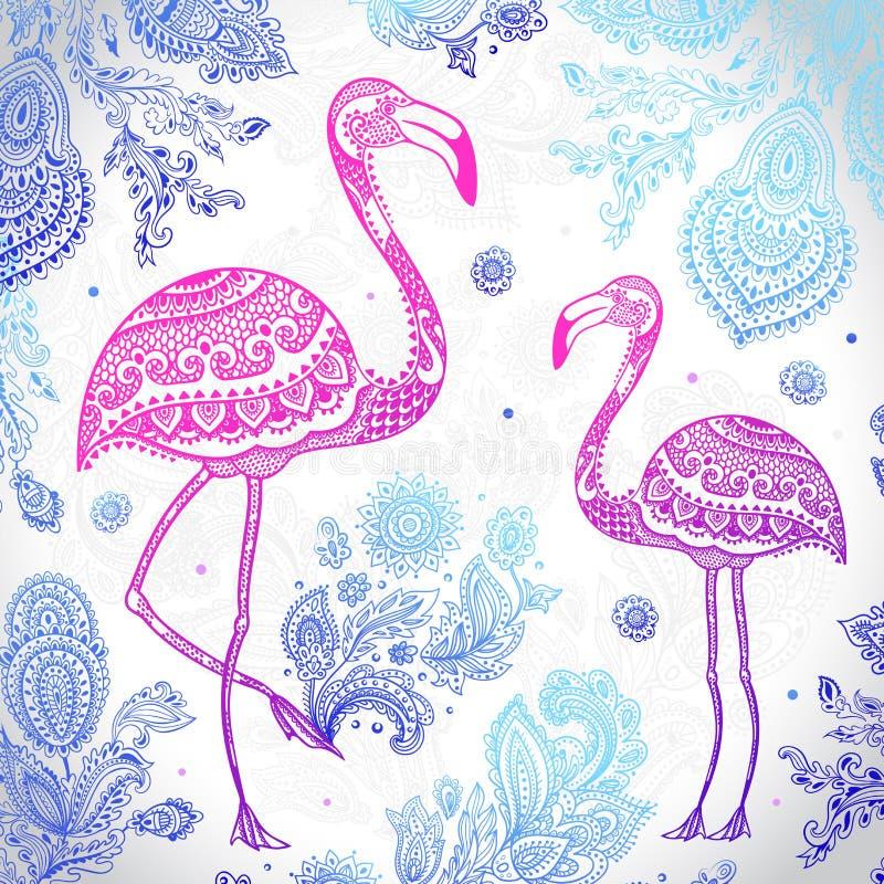 Vector stammenflamingovogel met etnische ornamenten vector illustratie