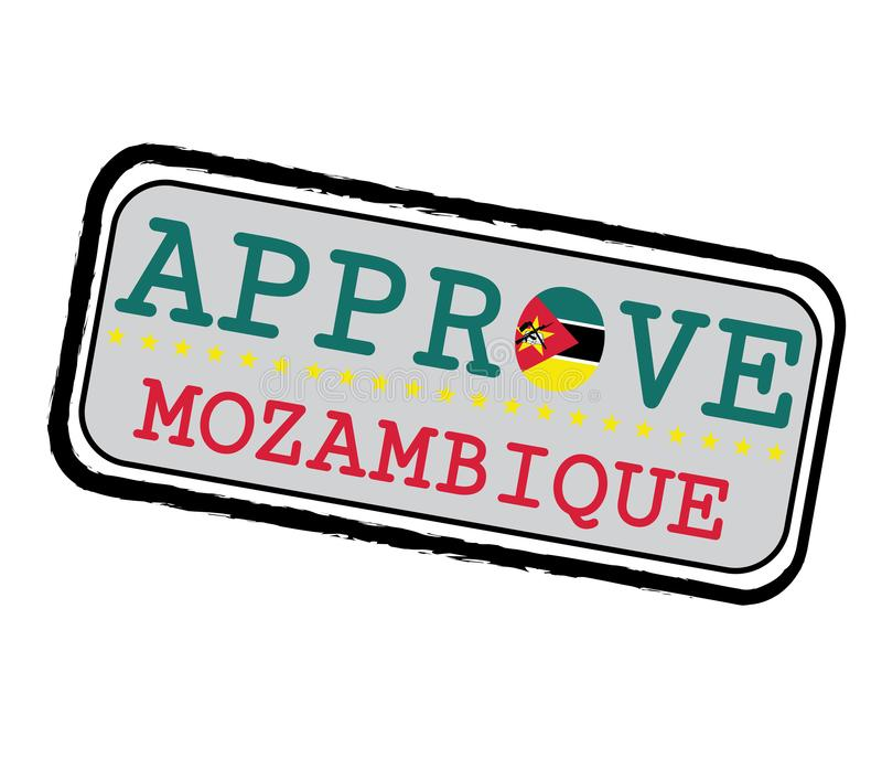 Vector Stamp for Approve logo with Mozambique Flag in the shape of O and text Mozambique vector illustration