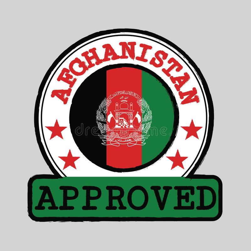 Vector Stamp of Approved logo with Afghanistan Flag in the round shape on the center vector illustration