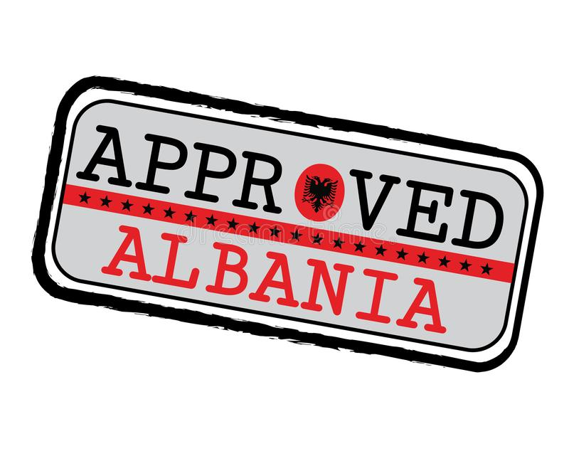 Vector Stamp of Approved logo with Albanian Flag in the shape of O and text Albania vector illustration