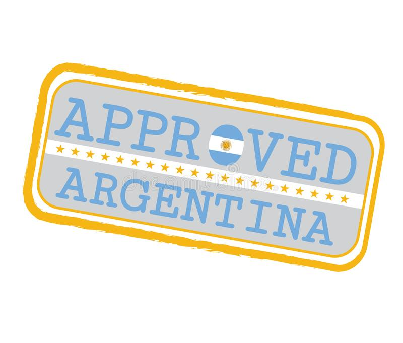 Vector Stamp of Approved logo with Argentina Flag in the shape of O and text Argentina royalty free illustration