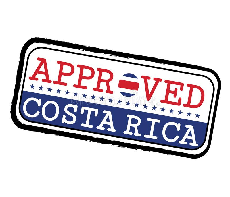 Vector Stamp of Approved logo with Costa Rica Flag in the shape of O and text Costa Rica. Grunge Rubber Texture Stamp of Approved from Costa Rica stock illustration