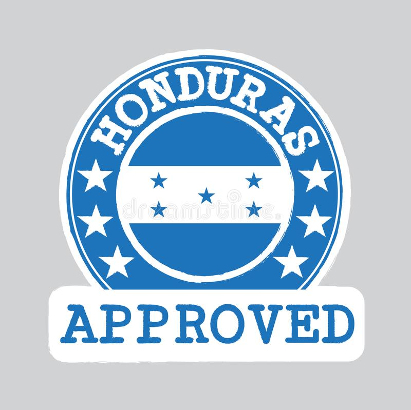 Vector Stamp of Approved logo with Honduras Flag in the round shape on the center stock illustration
