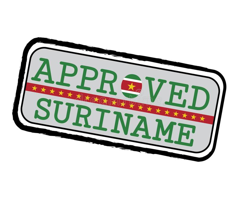 Vector Stamp of Approved logo with Suriname Flag in the shape of O and text Suriname stock illustration