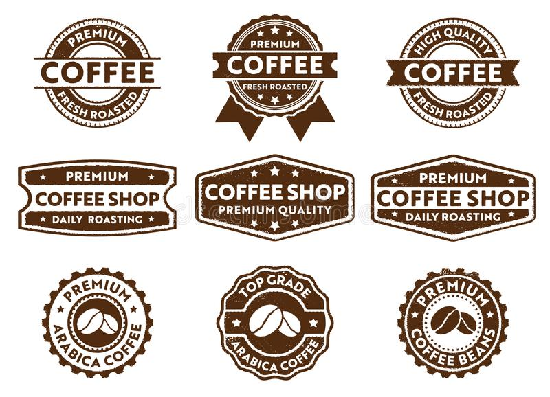 Vector stamp badge label for cafe, restaurant, coffee shop, premium top quality bean, fresh roasted stock illustration