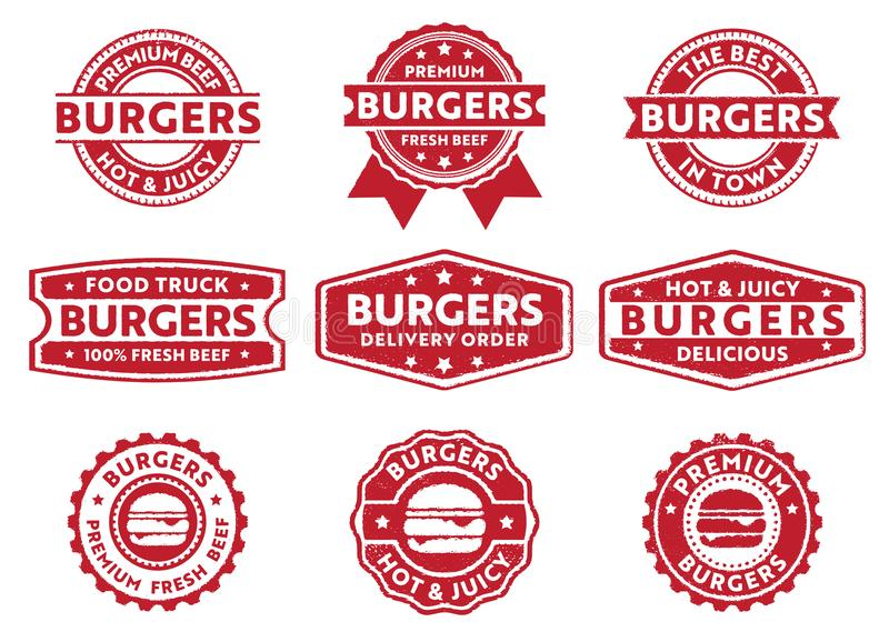 Vector stamp badge label for food truck, restaurant, cafe, burgers, delivery order, fresh beef burgers, premium delicious royalty free illustration