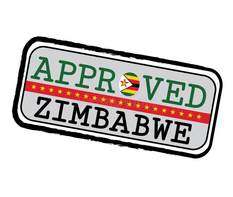 Vector Stamp des genehmigten Logos mit simbabwischer Flagge in Form von O und Text Simbabwe vektor abbildung